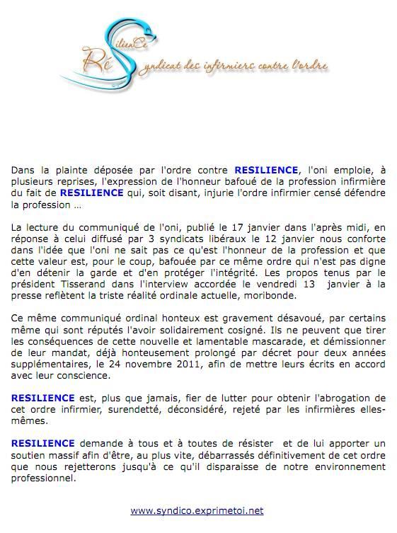 Communiqué RESILIENCE du 18 janvier 2012  :  vous disiez honneur bafoué ? 1201181113021139709313849