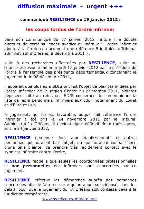 communiqué RESILIENCE du 19 janvier 2012 : les coups tordus de l'ordre infirmier 1201190839531139709317448