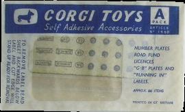Pochette d'accessoires autocollants Corgi-Toys