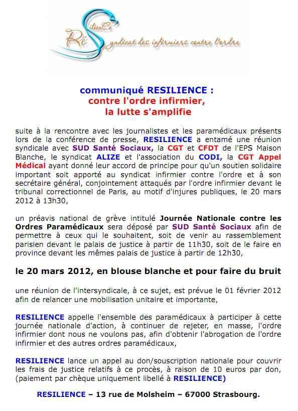 Communiqué RESILIENCE du 27 janvier 2012 : contre l'ordre infirmier,  la lutte s'amplifie  1201271142301139709353076