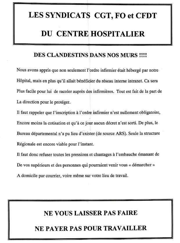 Hôpital : l'intersyndicale appelle les infirmiers à la grève - Ils sont contre l'Ordre des infirmiers. 1202030938071139709386167