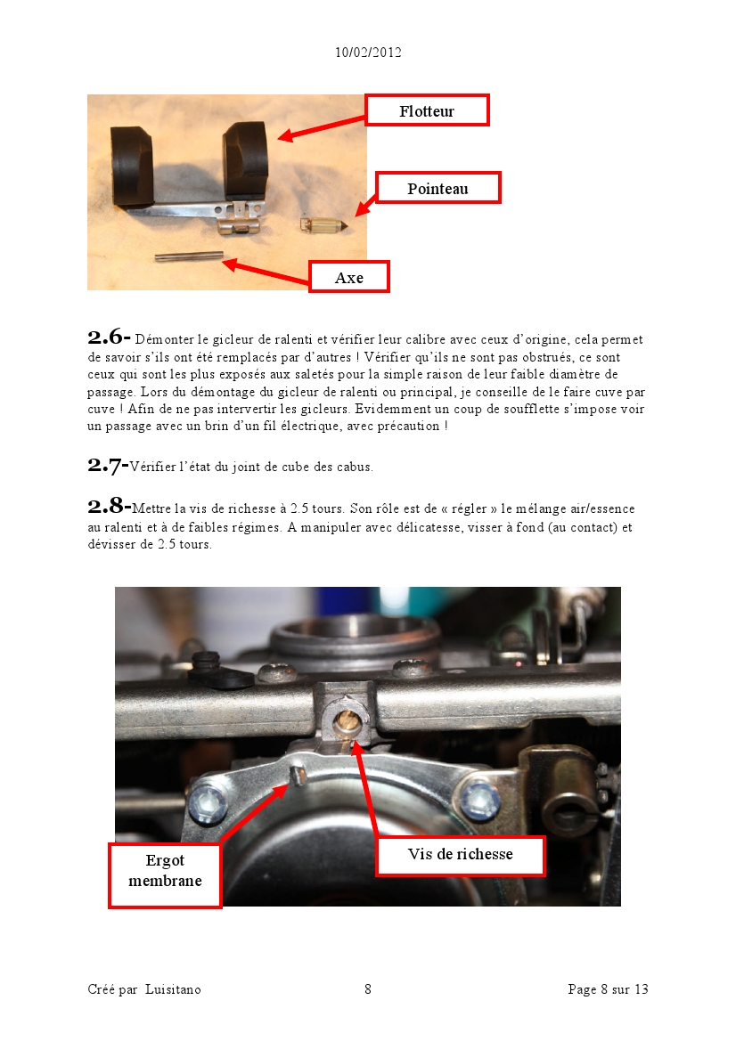 TUTO REVISION SIMPLE DE LA RAMPE DES CARBUS FZX 75 page8
