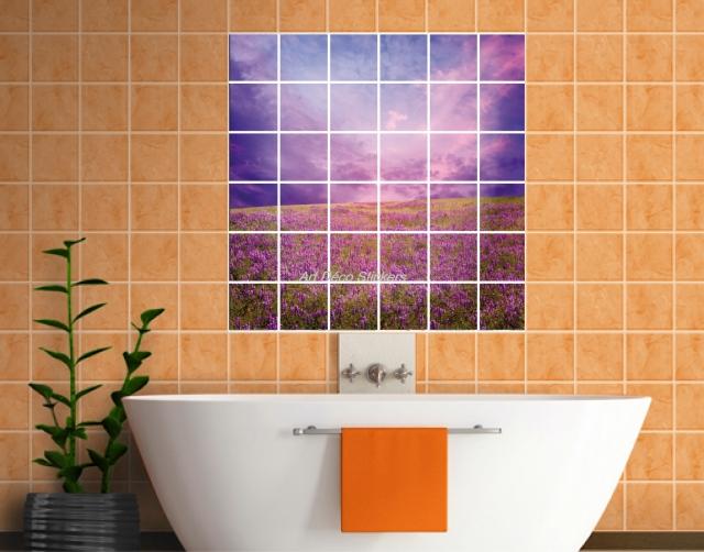 aufkleber fliesen wand fayence dekor k che oder badezimmer lavendel ref 840. Black Bedroom Furniture Sets. Home Design Ideas