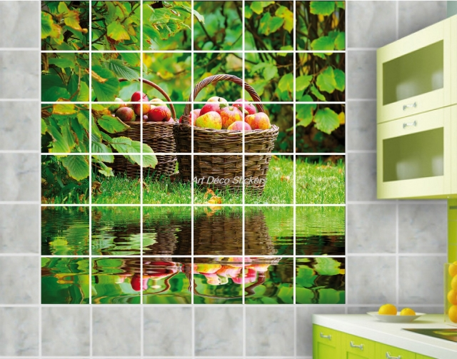 Stickers carrelage mural faience d co cuisine ou salle de for Decoration cuisine carrelage mural