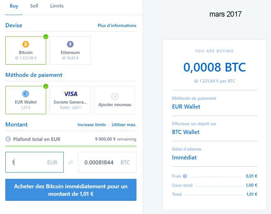 Coinbase - achat BTC via Euro Wallet (mars 2017)