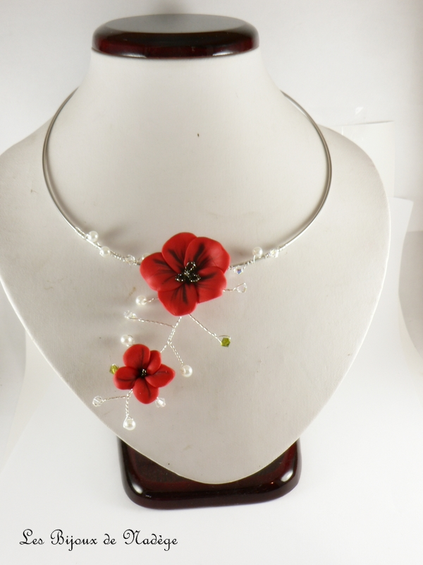 Collier mariage coquelicot