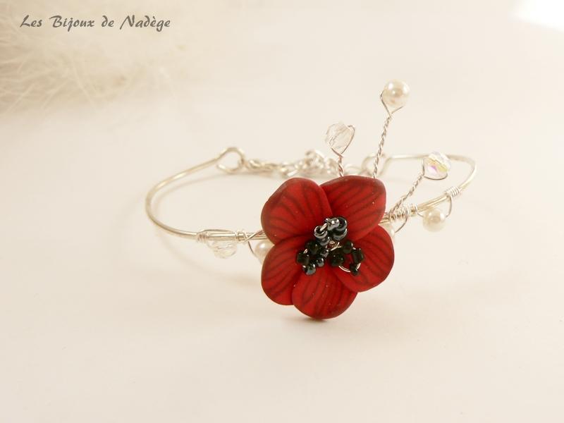 bracelet mariage coquelicot