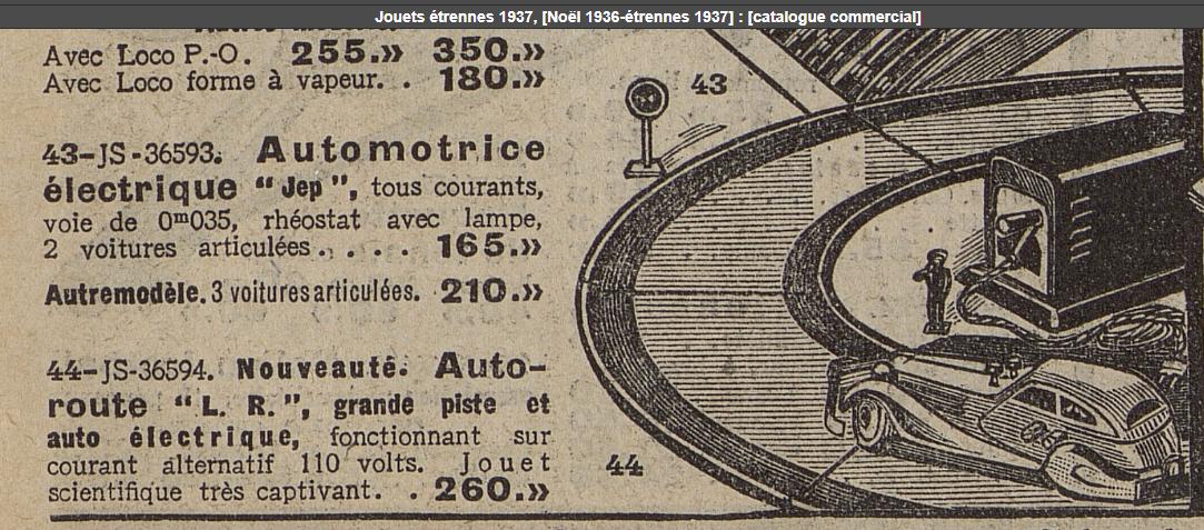LR autoroute catalogue Bazar Hotel de Ville Noël 1936