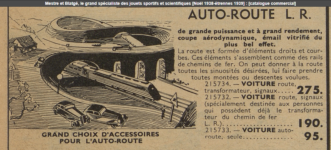 LR autoroute catalogue mestre et blatgé Noël 1938