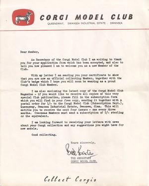 Lettre de confirmation d'adhésion au club des collectionneurs de Corgi-Toys