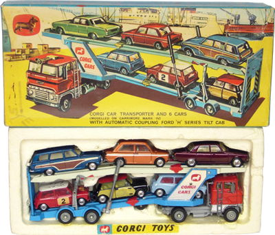 GS41 Corgi car transporter and 6 cars