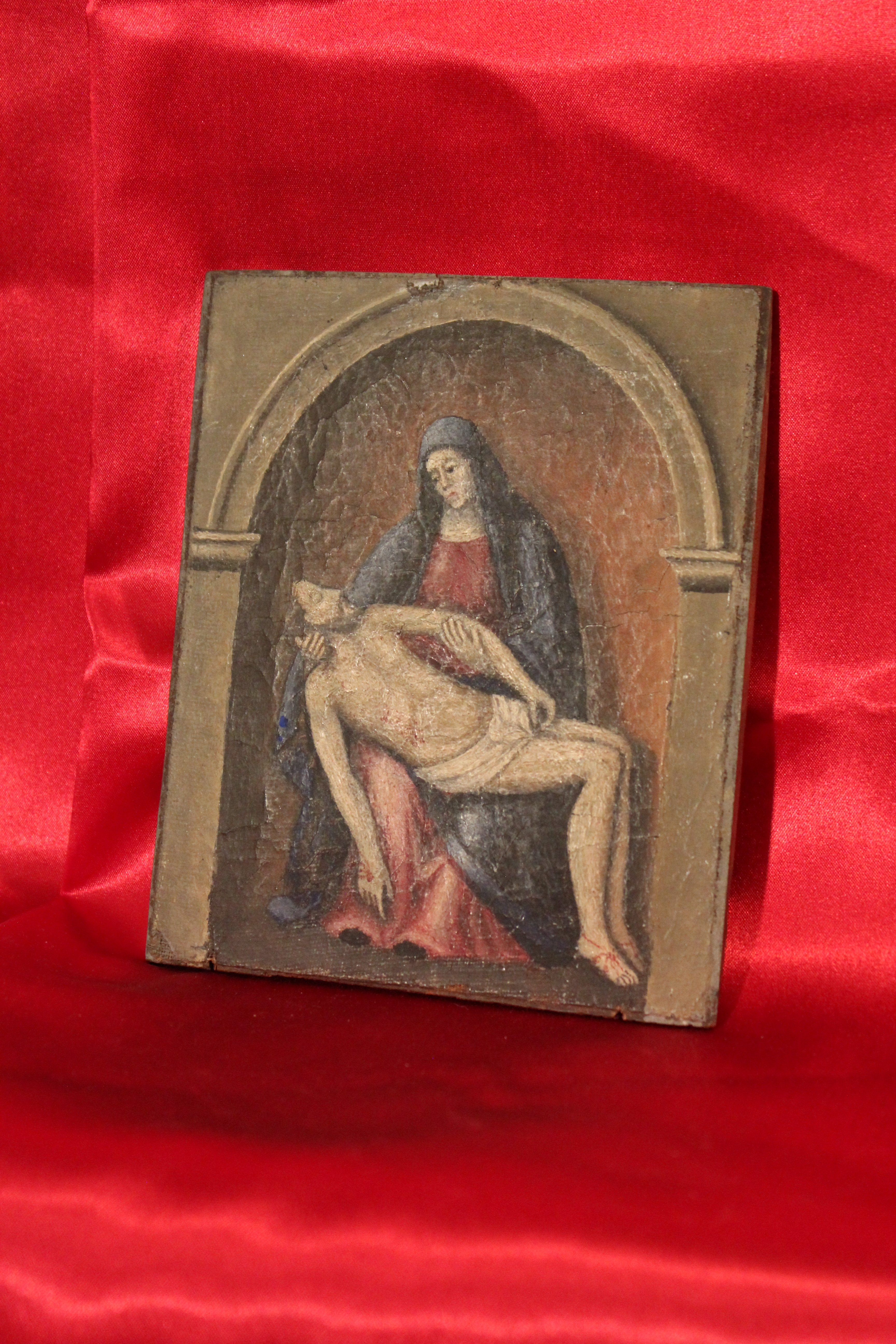 PETITE PEINTURE ANCIENNE REPRESENTANT UNE PIETA CHRIST école italienne RELIGION  - IMG_1349