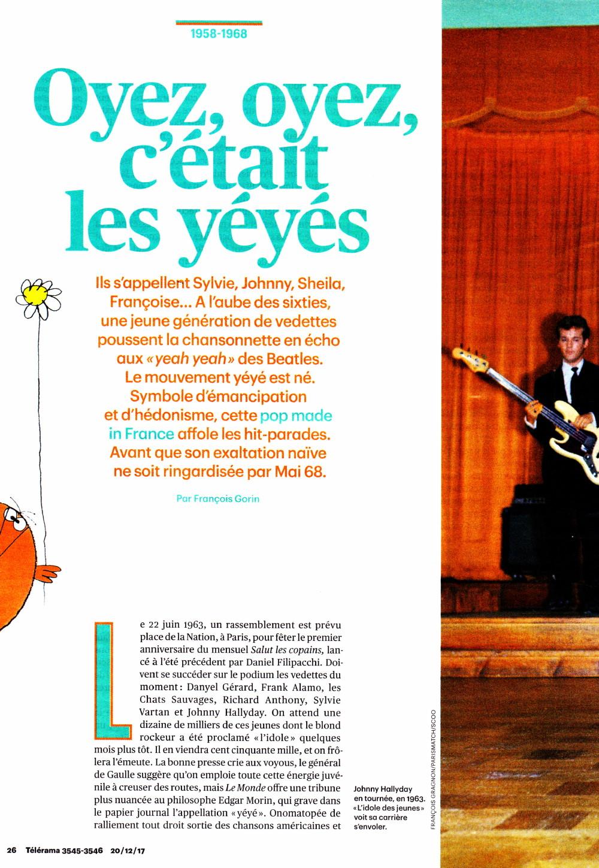 """VINCENT PALMER interviewé dans l'article """"Oyez, oyez, c'était les yé-yés"""" de FRANÇOIS GORIN (""""Télérama"""", 20/12/2017) 17122510155523491615425484"""