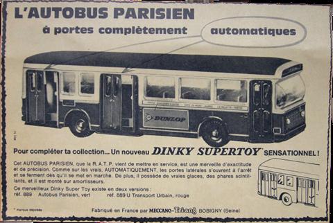 Publicité Bus Parisien Berliet Dinky-Toys